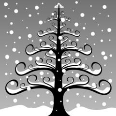 Sapin sous la neige- Illustration