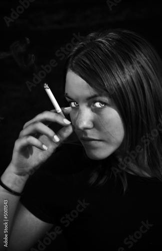 Girl smoking cigarette