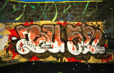 Graffiti wall in the car park