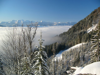 Inversion in winter mountains