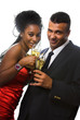 attractive couple with champagne
