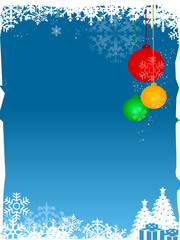 blue christmas background with snow and color xmas balls