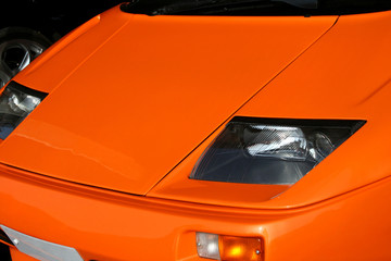 orange supercar headlights
