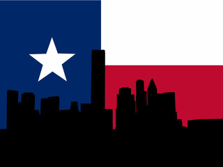 Houston skyline with Texan flag