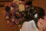 hair up do hairstyle wedding bride curl veil poster