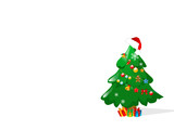 christmas tree with decorations in white background