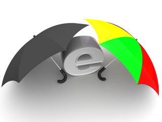 symbol of internet with umbrella. 3d
