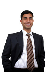 Indian business man smiling with. Clipping path available
