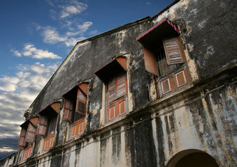 Dilapidated building in an old block of Georgetown, Malaysia