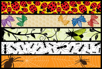 Five Insect Web Banners
