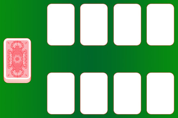 Kartenspiel, grüner Tisch, rote Karten