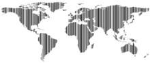 Carte du monde en kod barre