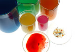 Test tubes isolated fulled with different color chemicals poster