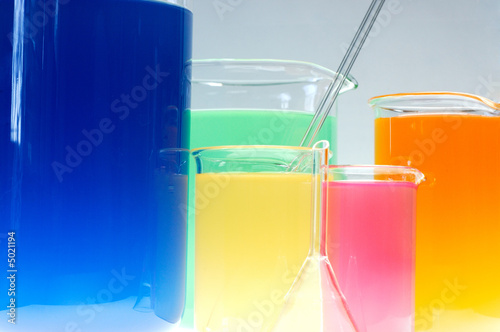 poster of Test tubes isolated fulled with different color chemicals
