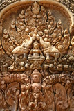 Sculpture in Angkor temple complex in Cambodia poster