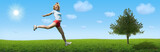 sporty woman jump on landscape poster