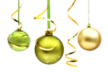 Three christmas baubles green and gold