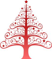 Sapin décoré rouge - Illustration