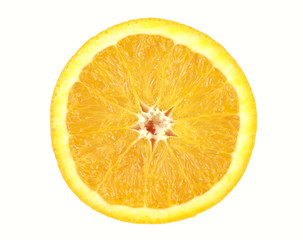 Orange sliced in half isolated on white back ground.