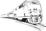Speeding train sketch style poster