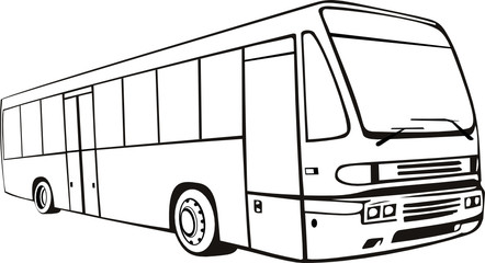 Line drawing of a tourist bus