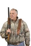 Hunter with shotgun on shoulder poster