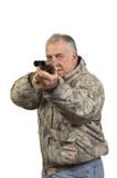 Hunter pointing shotgun poster