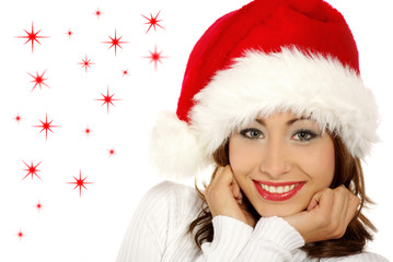 christmas  portrait of a beautiful young smiling woman