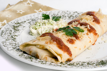 Pancake / tortilla / burrito on plate