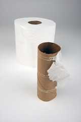 Abstract Conceptual Empty and Full Toilette Paper Rolls.