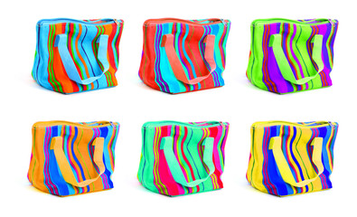 six multicolored bags