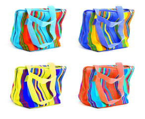 four multicolored bags