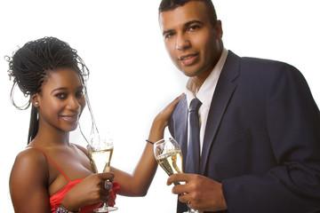 attractive couple celebrating
