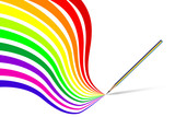 Vector - Colorful wavy / curvy abstract rainbows poster