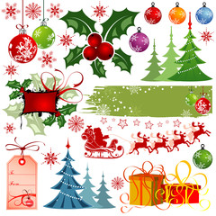 Big set elements for Christmas design, vector illustration