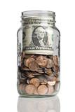 jar full of pennies and dollar bills  poster