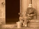 Old man at Church poster