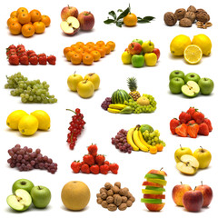 large page of fruits on white background