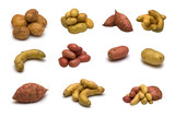 large page of potatoes on white background