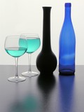 still life and shades of blue colour in transparent glass poster