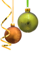 Two Christmas baubles isolated