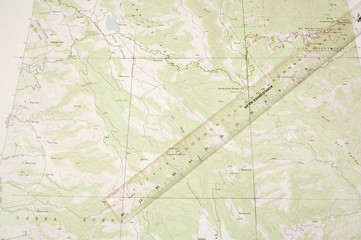 Topo Map and ruler latitude