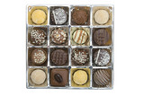Overhead view of tray with luxury chocolates poster
