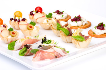 Tray full of fresh canapes