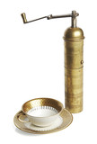 Elegant coffee cup and old brass manual grinder poster