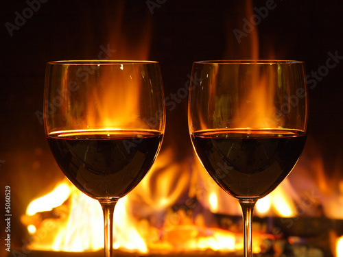 Romantic dinner for two, two glasses (close up)