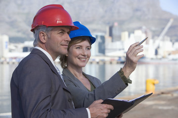 Harbor engineers on survey