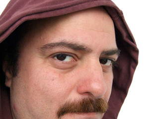 man with maroon hood