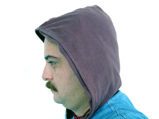 isolated man with hood