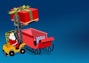 Santa Clause loading his sled